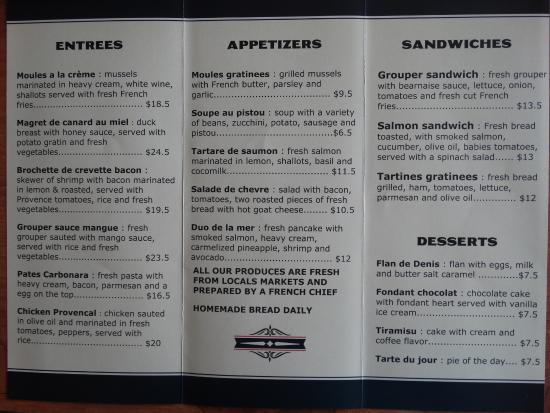 Bradenton Beach, Φλόριντα: Menu at French Table