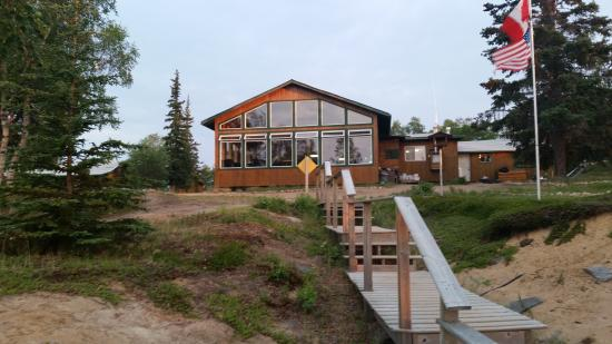 Kasba Lake Lodge: View from the water of the lodge