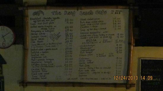 The Reef Beach Cafe: This menu looked so good it was hard to make up my mind.