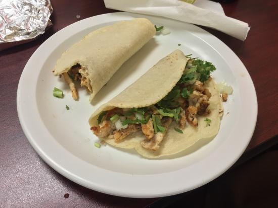 Taqueria Beccerra: Chicken Tacos- you can order these à la carte or as a dinner plate with rice and beans. Sorry th