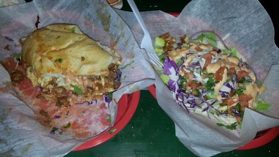 Cali N Tito's : Half of a chorizo and egg Cuban on the left, and a fish taco on the right. Both are off the hook