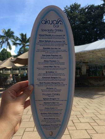 Isla Verde, Porto Riko: Akua pool bar menu