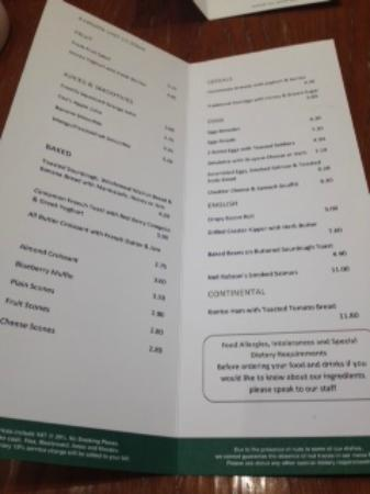Cafe 21 at Fenwick: Easy to read menu & simple