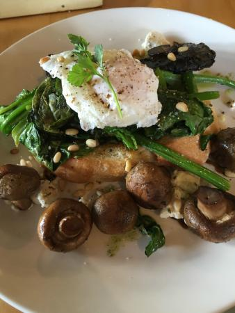 Chocolate Brown Cafe: The Forager: Poached egg / mushrooms / wilted spinach / Italian white toast / feta / pinenuts