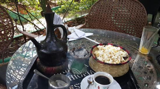 Habesha : Coffee and popcorn after meal