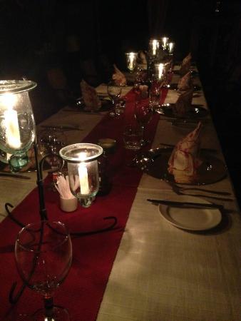 Elephant Pepper Camp: Dinner table