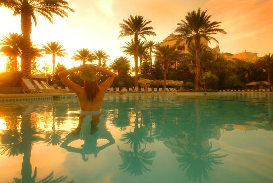JW Marriott Las Vegas Resort - Spa Aquae : The resort pool features waterfalls and ample lounge chairs to sun in.