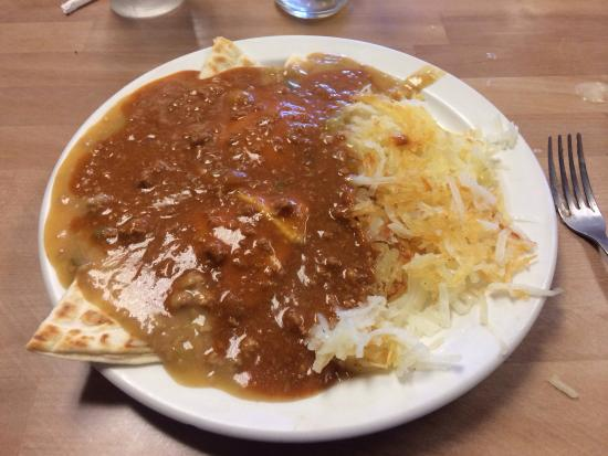Campus Cafe: Huevos Rancheros with red and green chili