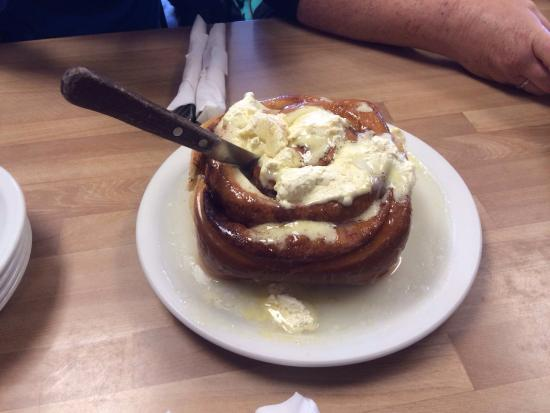 Campus Cafe: Giant cinnamon rolls. Smothered in butter and icing
