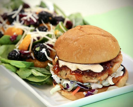 The Brown Bag: Salmon Burger with Baby Spinach Salad