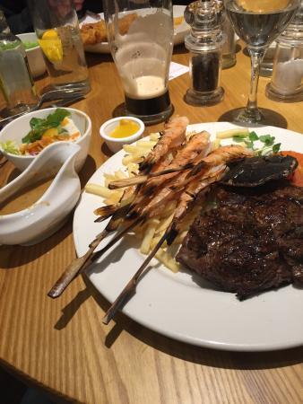 The Brecks Beefeater: Rib eye steak with prawn skewers.