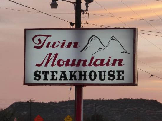 Twin Mountains: Twin Mountain Steakhouse Sign