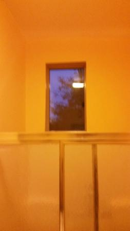 RoadRunner Hostel: Nice clear window in the bathroom for unobstructed viewing in or or out /sarcasm