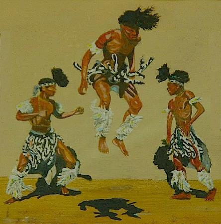 Harries Pancakes: Zulus jump for joy at Harries (painting by C. Beck)