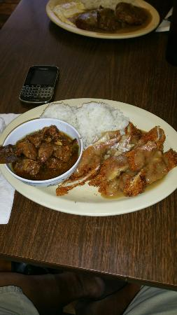 Waipouli Restaurant and Deli: Cutlet and Pork Adobo. $10. So Ono!
