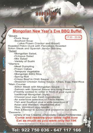 Restaurant Mongolian BBQ: New Year's Eve 2014 menu. €18, all you can eat!!