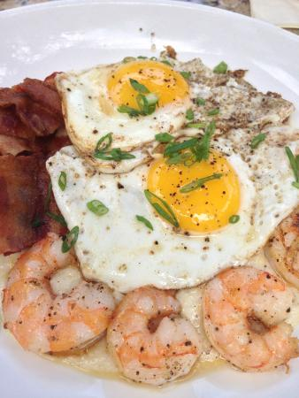 Palm Valley Fish Camp : Shrimp, cheese grits, bacon and egg