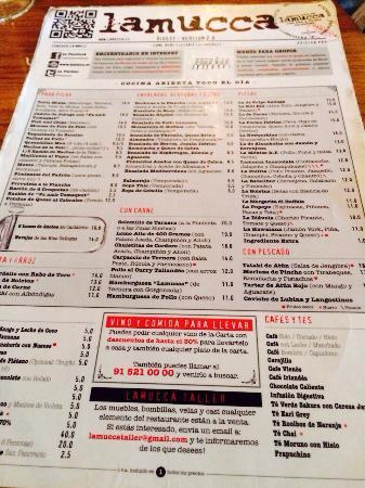 Carta picture of lamucca madrid tripadvisor for Restaurante la mucca madrid calle prado