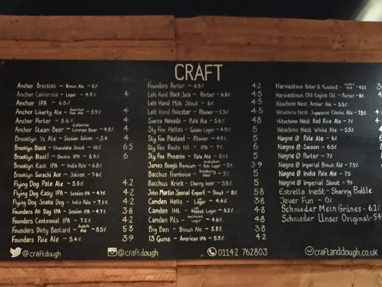Craft beer menu Picture of Craft Dough Sheffield TripAdvisor – Beer Menu