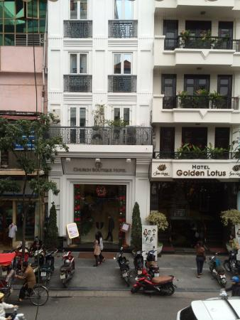 Church Boutique Hotel Hang Trong: View from the opposite cafe