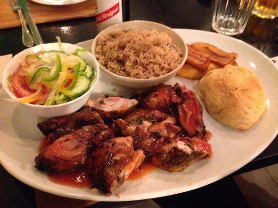 ... : Jerk Chicken with Rice & Peas, sweet potato, coco bread and salad