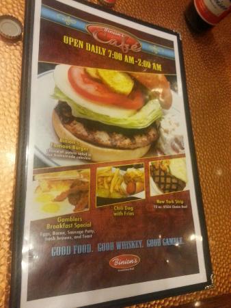 Top of Binion's Steakhouse: cardapio