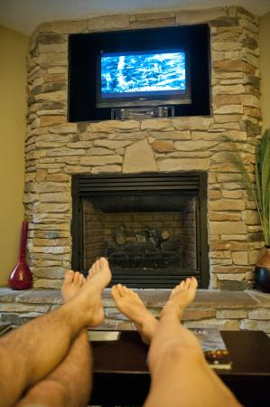 Asheville Cottages: nice fireplace and TV