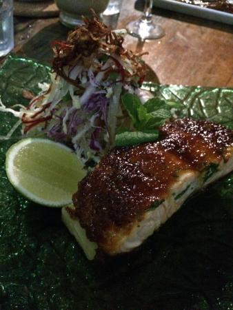 Millers Beach Bar and Grill: Palm sugar caramel baked Atlantic salmon with crispy potato gratin, green papaya and coconut sal