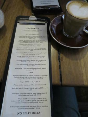 Anonymous Cafe: Menu