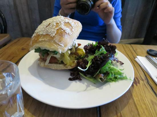 Anonymous Cafe: Chorizo burger with kale, potato and sage hash, garlic aioli and cabbage pickle