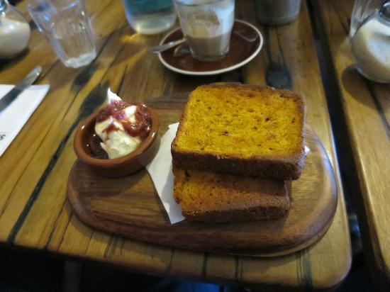 Anonymous Cafe: House made pumpkin loaf with jam and mascapone