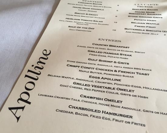 Apolline Restaurant : Menu