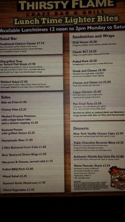 Rotherham, UK: Menu