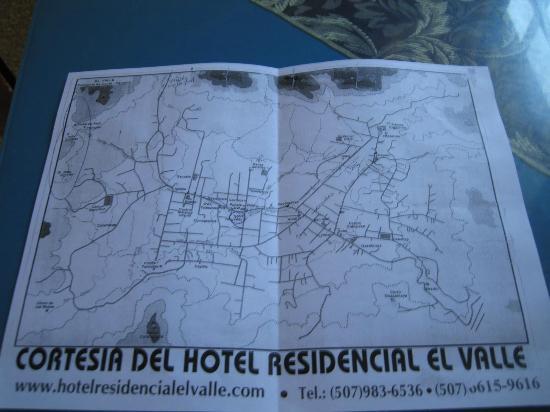 Hotel Residencial El Valle: Mapa que te dan en la Recepción