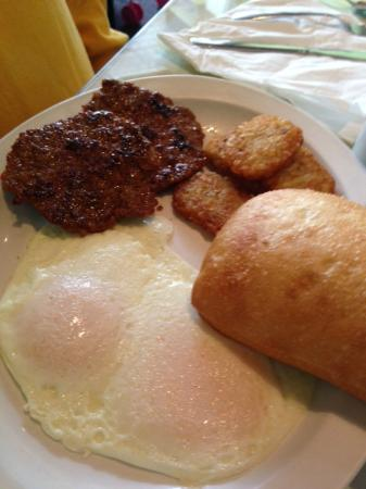 Cafe On Main: Dippy eggs with spicy sausage and potato pancakes