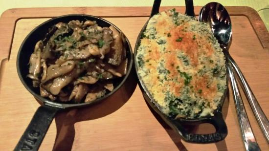 Angle: Creamed Spinach & Sauteed Mushrooms
