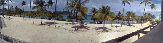 """Sapphire Beach Resort: Beach to the left, pool to the right. NO water access directly in front - signs say,""""STAY OFF CO"""