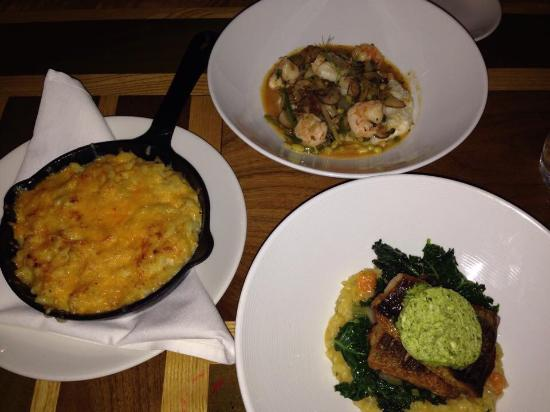 Rx Restaurant and Bar: Speckled Trout, shrimp and grits, and some delicious Mac n' cheese.