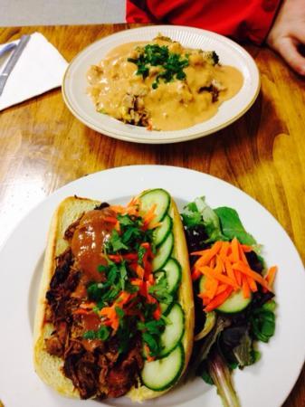 Tea Kettle Cafe: Bahn Mi Sandwhich & Curry over rice