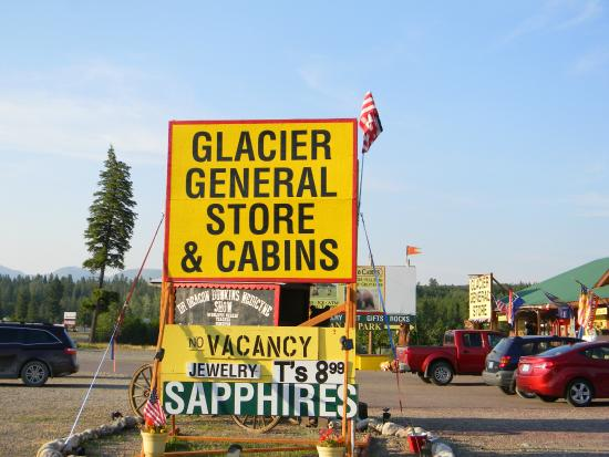 Glacier General Store and Cabins: Sign and General Store