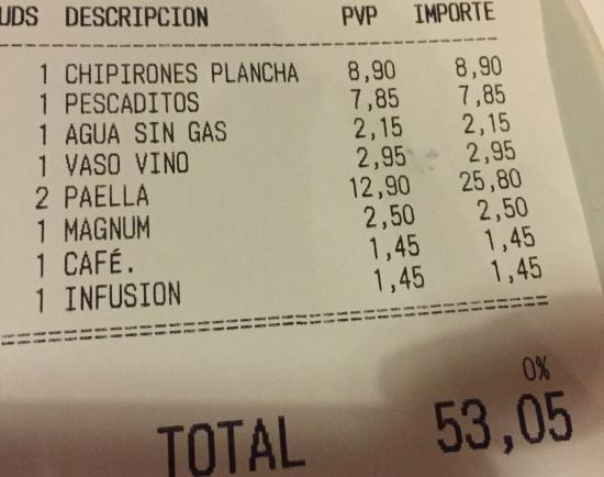 El Posito Restaurant : Factura