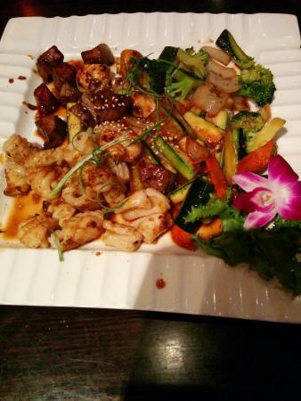 Kumo Japanese Steak House & Sushi Bar: Hibachi steak,calamari, shrimp and vegetables