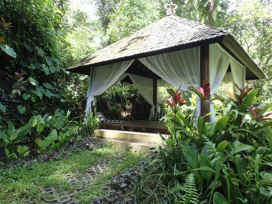 sitting pavilion on walking path
