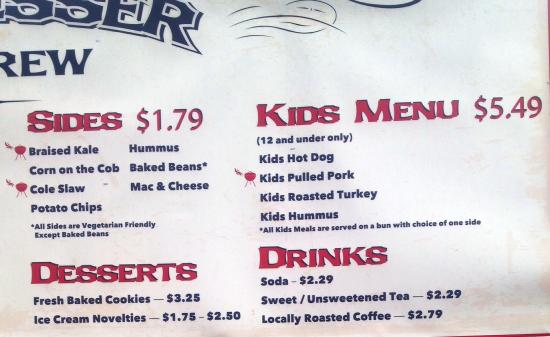 Big Wesser Brew & BBQ: Right half of menu board 12/22/14