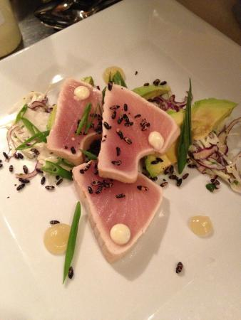 PIER 73 Restaurant: Albacore, yuzu, white soy avocado and cabbages