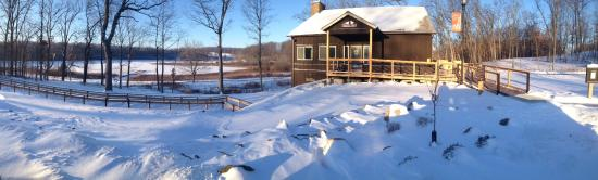 Fremont, IN: The Trine SRA Welcome Center in winter