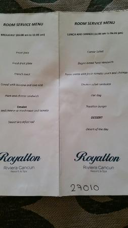 Limited Room Service Menu Picture Of Royalton Riviera