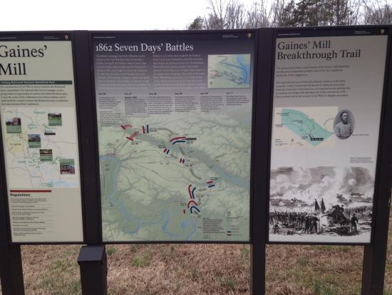 battle map - Picture of Gaines' Mill Battlefield, Richmond ... on 1 6 miles river ariel map, civil war virginia map, battle of mill springs battle map, mechanicsville battle map, west civil war battle sites map, gaines mill civil war, original civil war battle map, battle of gaines mill map,