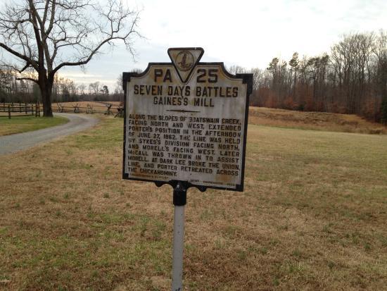 Gaines' Mill Battlefield: battle marker