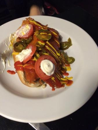 Instant Karma Gourmet Hot Dogs: Kitchen sink hot dog